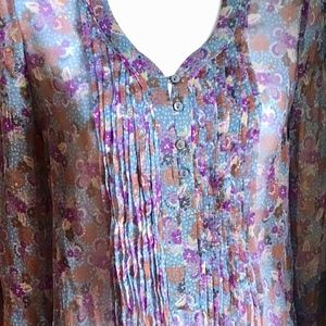 Zara 100% Silk Purple Flowers Blouse Top